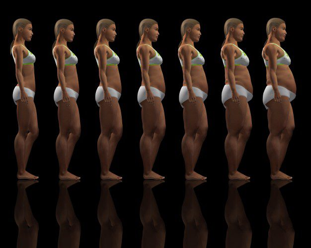woman weight evolution